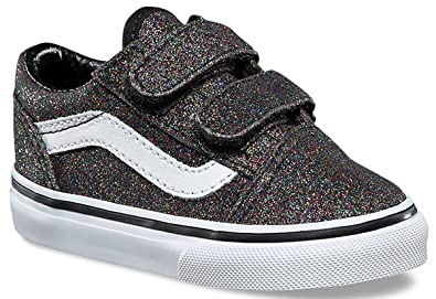 abc17f8150c8 Vans Old Skool V Rainbow Glitter Black Toddlers Trainers Shoes ...