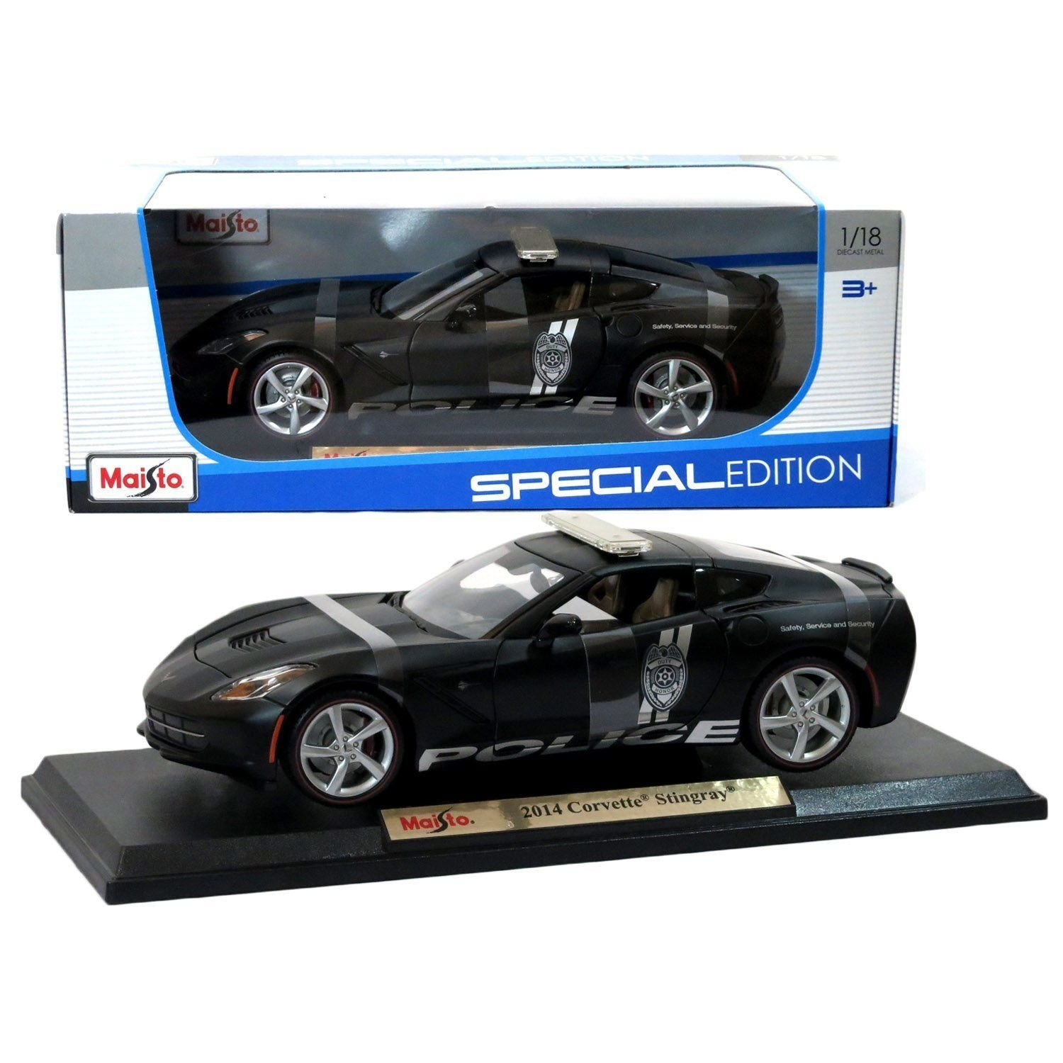 New 1 18 W B SPECIAL EDITION MATTE BLACK 2014 CORVETTE STINGRAY POLICE Diecast Model Car By Maisto