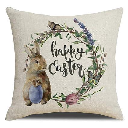 Cushion Cover 2019 Easter Home Decor Pillows Happy Easter Benny Rabbit Eggs Print Cotton Linen Sofa Throw Pillow Cases Car Cushion Cover 45*45 Home & Garden