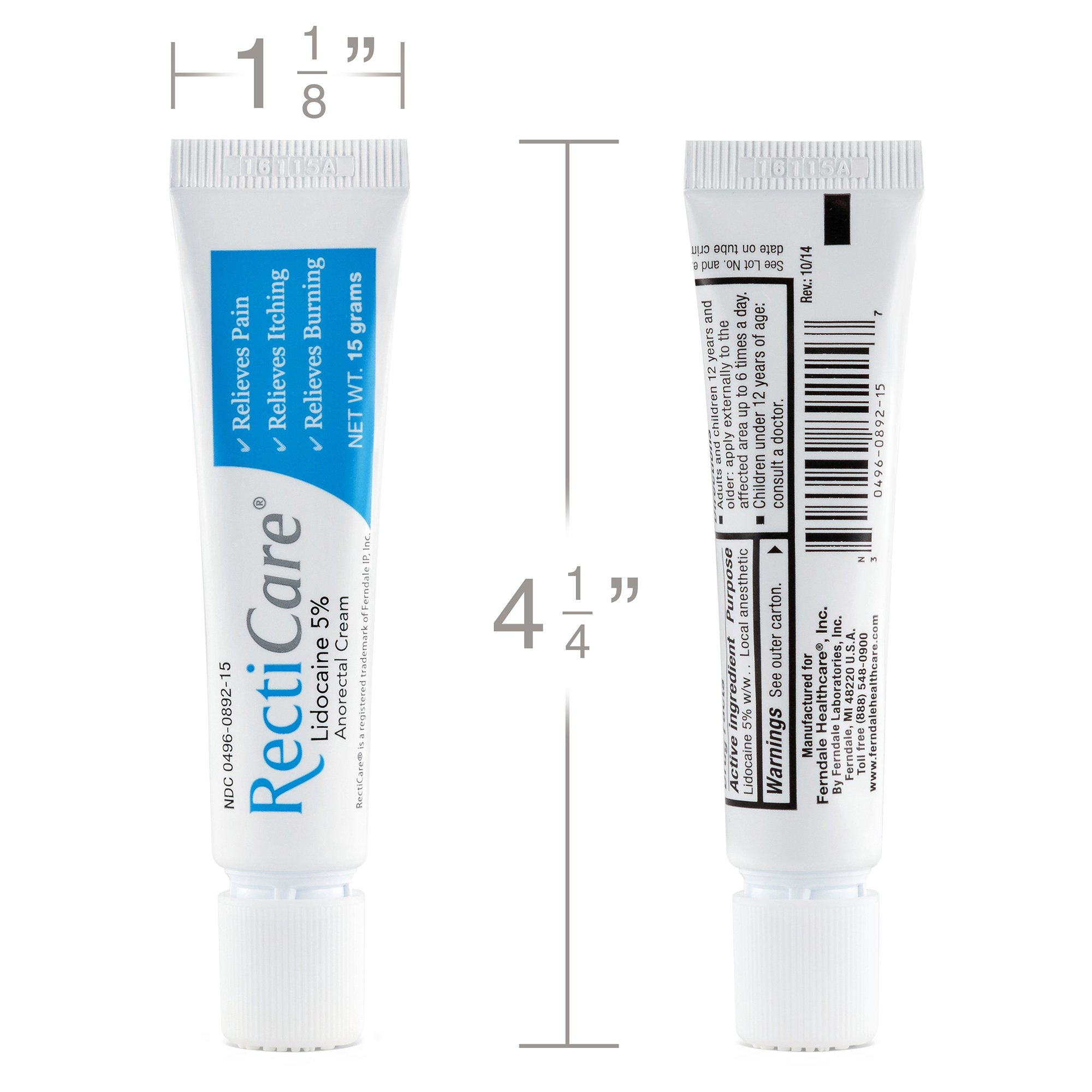 RectiCare Anorectal Lidocaine 5% Cream: Treatment for Hemorrhoids & Other Anorectal Disorders - 15g Tube by Recticare (Image #2)