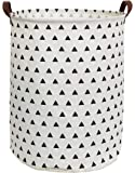 HIYAGON Large Sized Canvas Storage Baskets with Handle,Collapsible & Convenient Home Organizer Containers for Kids Toys,Baby Clothing(Triangle)