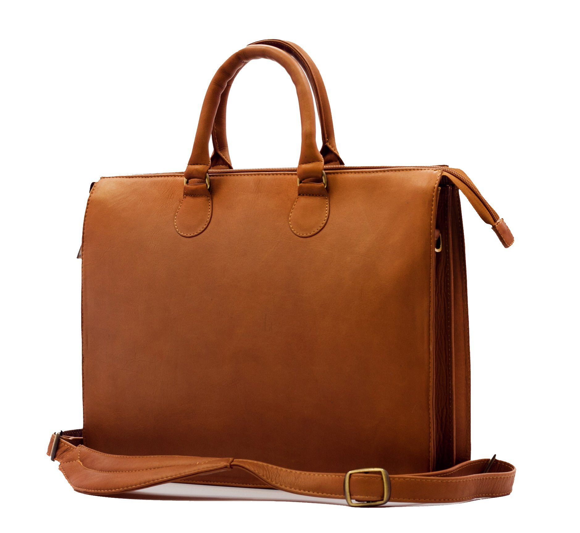 Luggage Depot USA, LLC Women's Muiska Leather Monica Double Top Zipper Slim Laptop Business Tote Bag Briefcase, Saddle, One Size