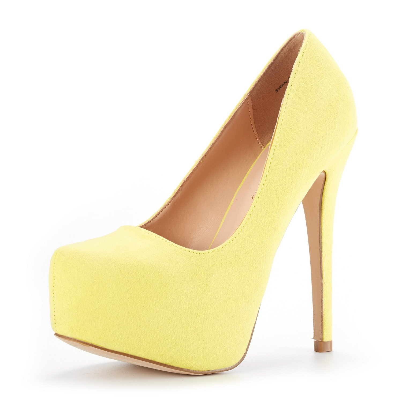 DREAM PAIRS Women's Swan-30 Yellow Suede High Heel Plaform Dress Pump Shoes Size 7.5 M US