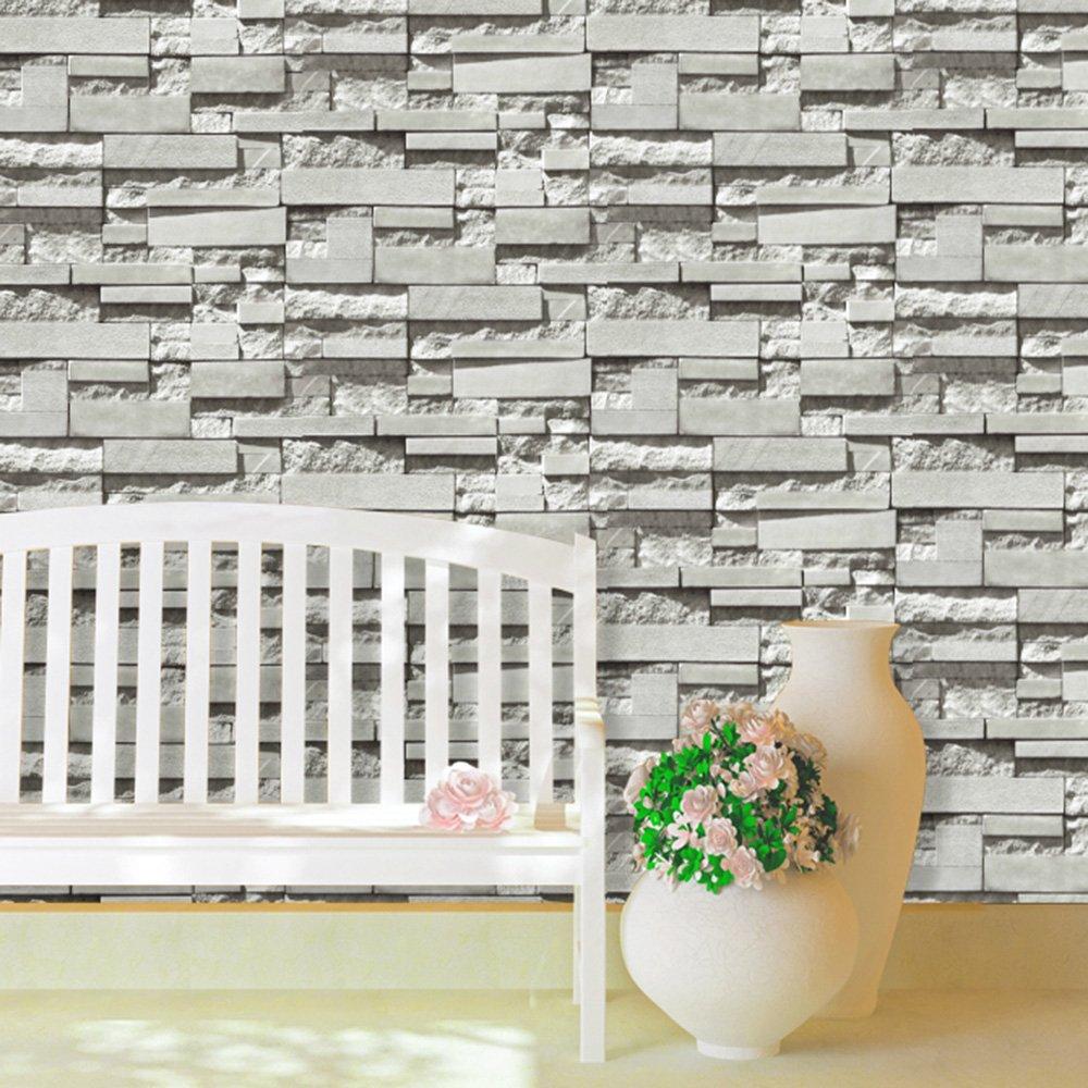 69141 vinyl faux stone brick design wallpaper for home bar hotel wall decoration 57suqare feetsroll amazoncom - Brick Hotel Decoration