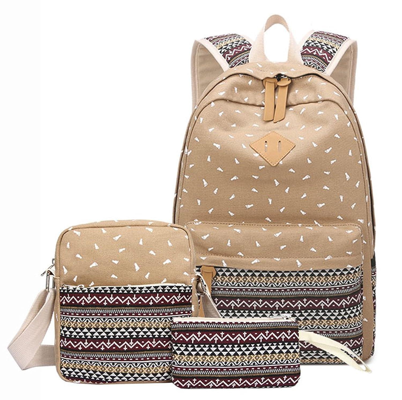 YEFER Canvas School Bags for Teenage Girls Set School backpack Womens Daypacks