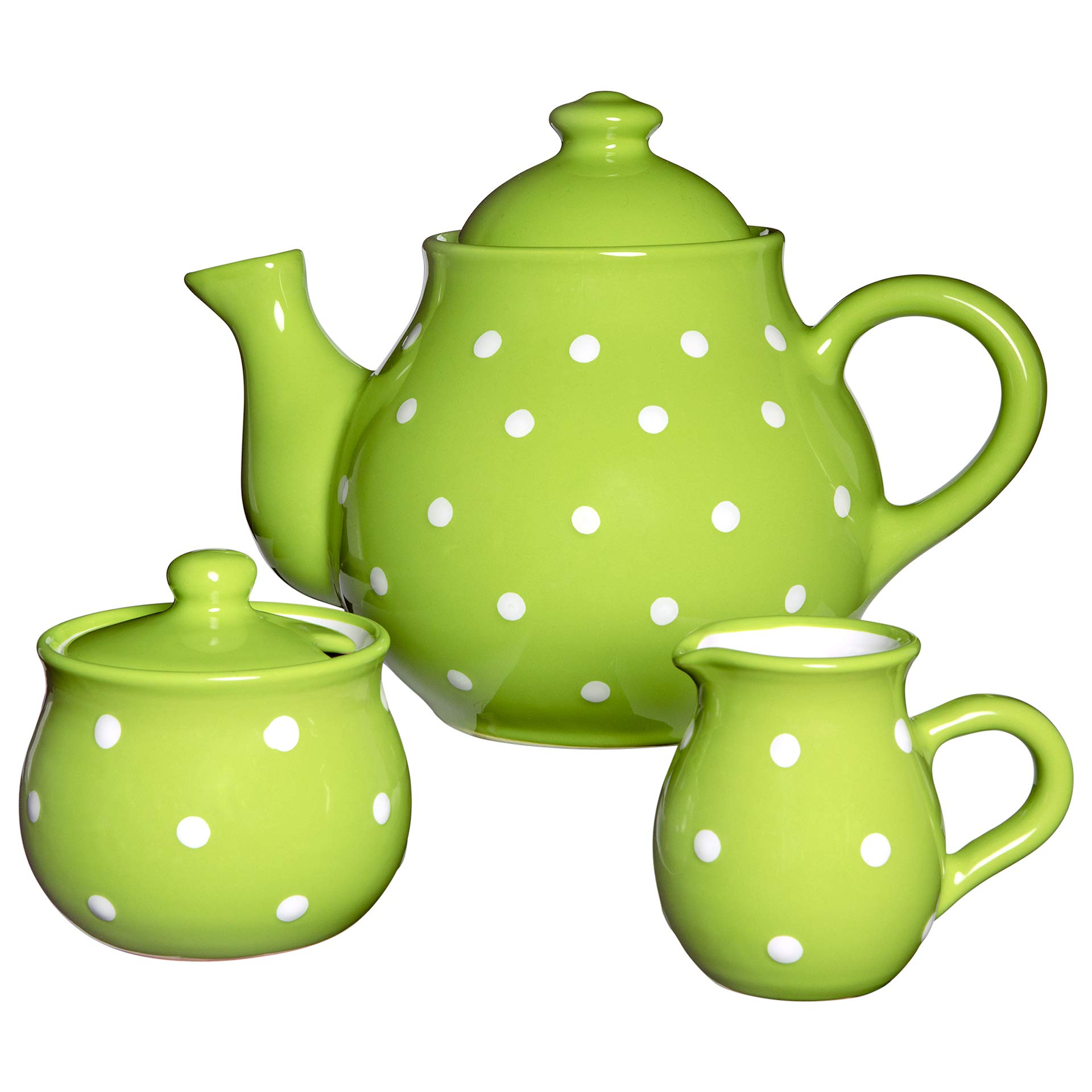 City to Cottage Handmade Lime Green and White Polka Dot Large Ceramic 1,7l/60oz/4-6 Cup Teapot, Milk Jug, Sugar Bowl Set, Pottery Tea Set, Housewarming Gift for Tea Lovers