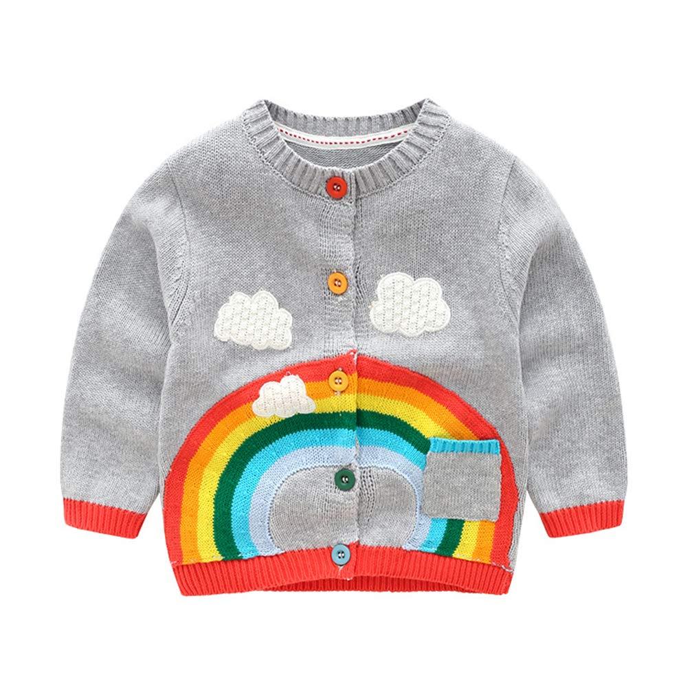 Mornyray Autunno Cardigan di lana per bambini Ragazzi e Ragazze Cappotto Maglione Arcobaleno size 80 (Pink)
