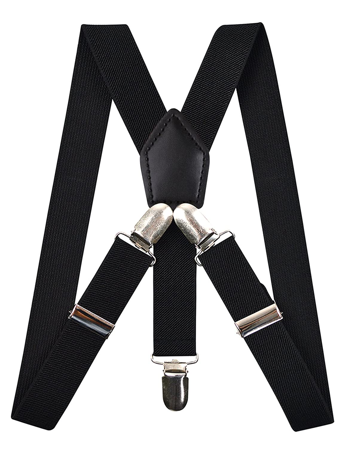 Black Alizeal Kids Elastic Clip Suspenders with Pre-tied Bow tie and Hat Set