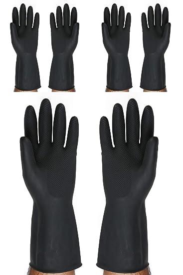 SAFEYURA� Multipurpose Non-Slip Rubber Reusable Gardening Dish-Washing Scrubbing Cleaning Gloves (Color Black, Size: 9.5 Inch) - 3 Pairs