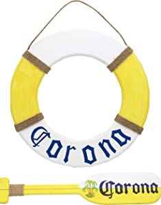 Hand Carved RusticWooden Life RingDecoration, Wood Decorative Life Ring, Life Ring Wall Decor, Nautical Life Preserver, Paddle Decor Wall, Oar Wall Decor, Yellow Home WallDoorHanging Ornament