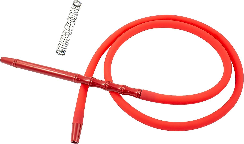 Manguera para cachimba shisha - Incluye muelle y boquilla de materiales premium con acabados excepcionales (Rojo)
