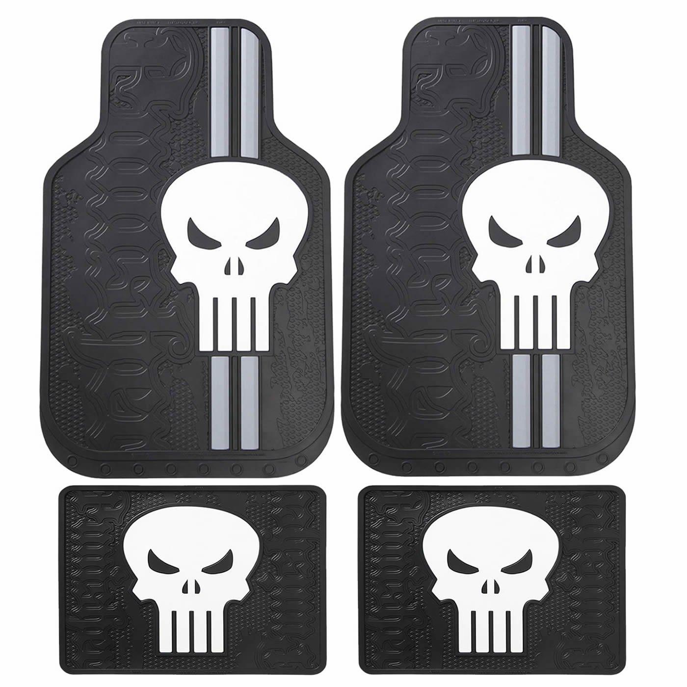 4pc Marvel Punisher Black White Skull Logo Front Rear Rubber Floor Mats Set New U.A.A INC