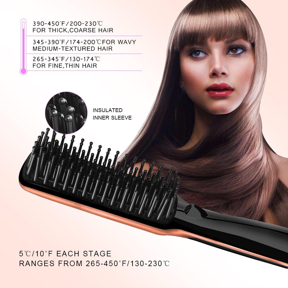 Hair Straightening Brush YALUYA Hair Straightener Brush Ceramic Portable Electric Heat Brush Straightening Irons Hair Care Brush Anti Scald Ionic Teeth Comb for Travel Women's Day Gift (Black) by YALUYA (Image #4)