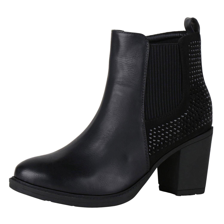 napoli-fashion , bottines classiques femme - noir - Schwarz Nero,