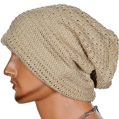 FORBUSITE Mens Slouchy Long Oversized Knit Beanie Cap for Summer Winter B08  (Beige) 3bd31777128