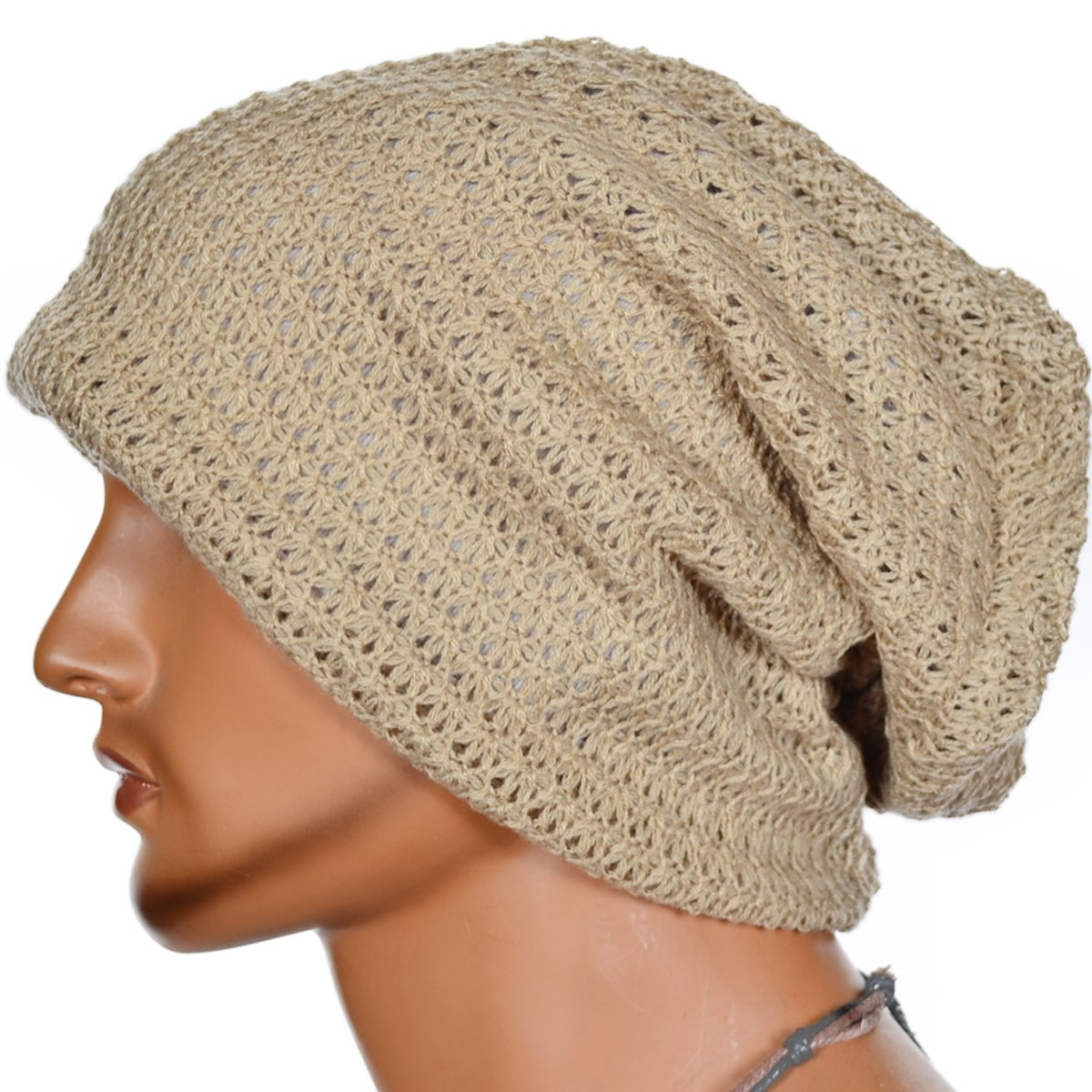 FORBUSITE Mens Slouchy Long Oversized Beanie Knit Cap For Summer Winter (Beige)