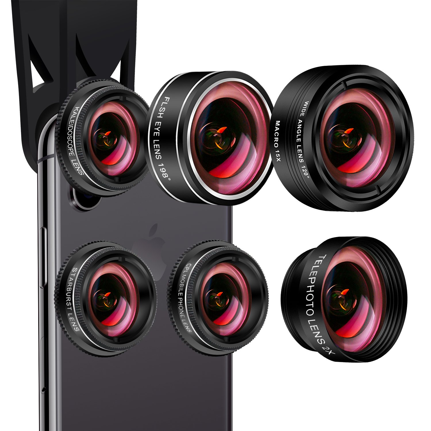 Cell Phone Camera Lens Kit,7 in 1 AiKEGlobal Wide Angle + Macro(Screwed Together), Fisheye, 2X Telephoto, CPL, Starbrust, Kaleidoscope Lens for iPhone X/8/7/6s/6 plus, Samsung, Most Smartphone