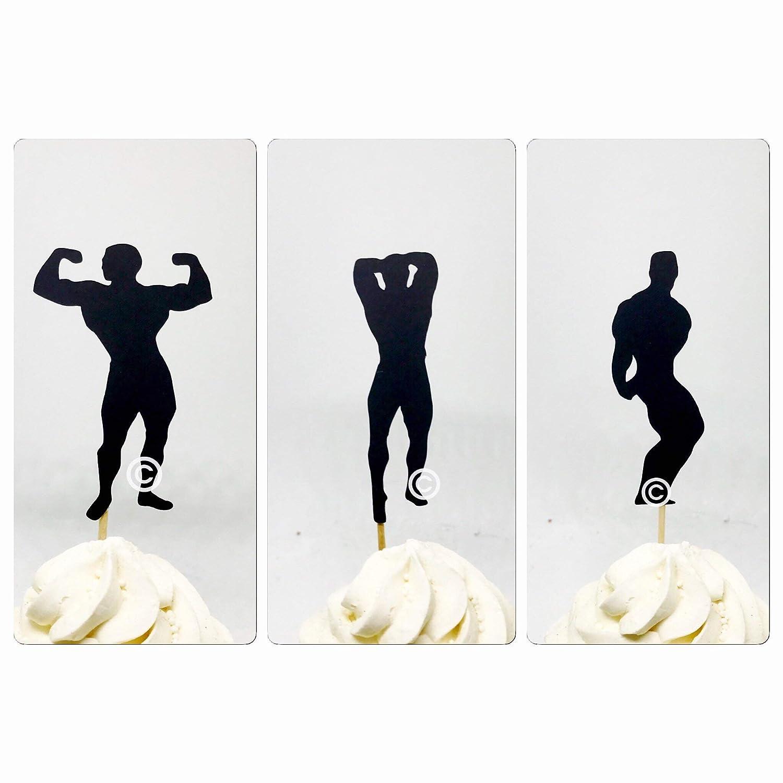 body builder cupcake topper Bodybuilder cupcake toppers 12 ct body builder toppers bodybuilder topper bodybuilding cupcake toppers