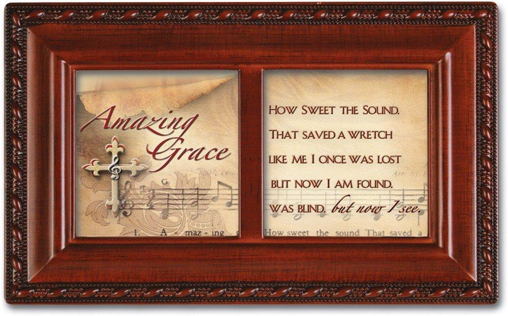 Cottage Garden Amazing Grace Inspirational Woodgrain Petite Music Box Plays Amazing Grace