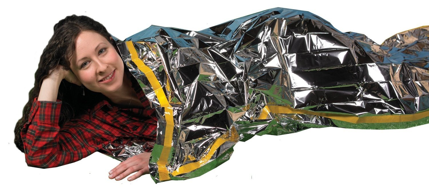 "Emergency Survival Mylar Thermal Sleeping Bag (2 Pack) - Grizzly Gear - 84"" X.. 4"