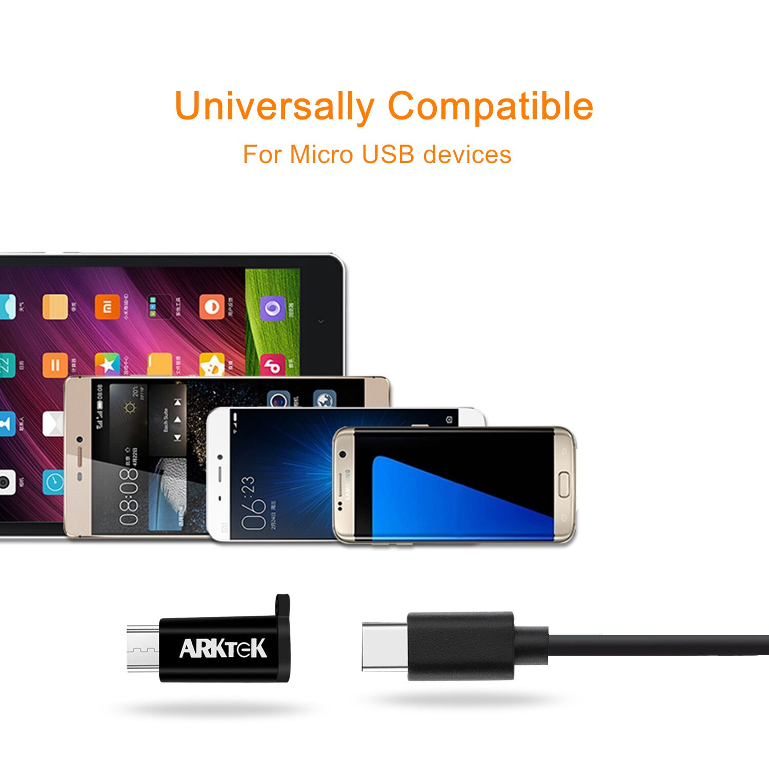 ARKTEK USB-C Adapter USB Type C (Thunderbolt 3) to Micro USB (Male) Sync and Charging Adapter with Keychain for Digital Camera Power Bank Samsung Galaxy S7 and More (Pack of 2, Black) by ARKTEK (Image #7)