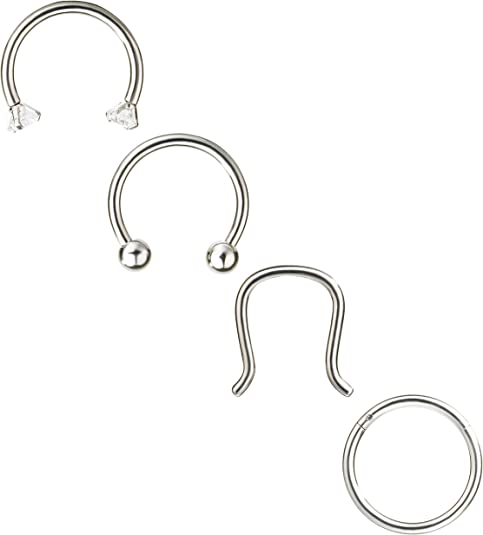 Details about  /Nostril Piercings 16g//18g Colorful 6//12pcs Round Stainless Steel Conch Helix New