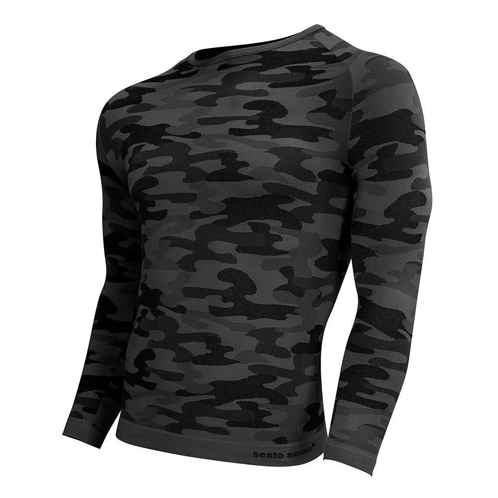 Sesto Senso Long Sleeved Top Comouflage Militaria DLR, Dark Grey,XL