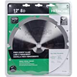 Hitachi 18109 8-Teeth Polycrystalline Diamond 12-Inch Dry Cutting Fiber Cement Saw Blade