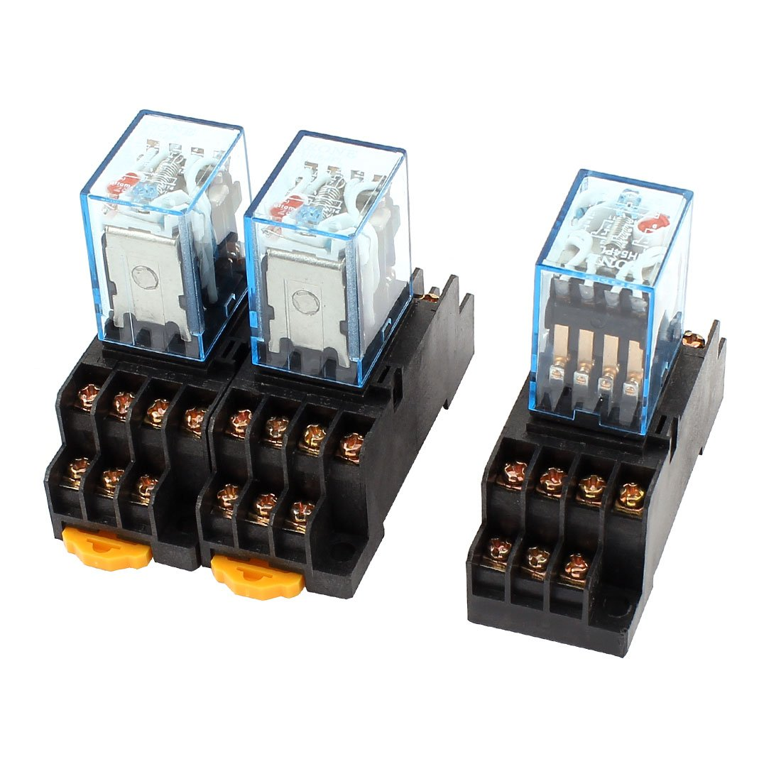 Uxcell a14072900ux0172 3Pcs AC 110/120V 5A Coil Red Lamp 4PDT 14Pin Power Relay + SOCKET Base