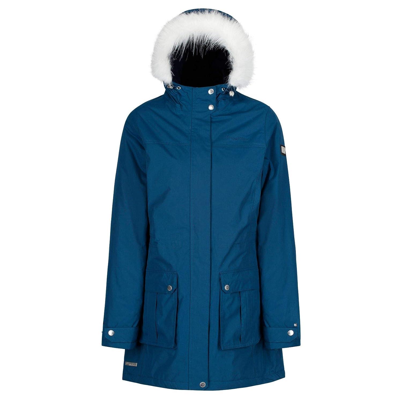 TALLA talla 12. Regatta Sherlyn Waterproof and Thermoguard Insulated Faux Fur Hooded Chaqueta, Mujer