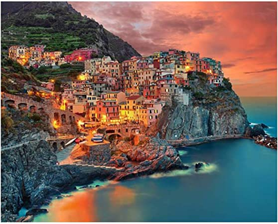 16 x 20 Drawing Paintwork with Paintbrushes Manarola View DIY Paint by Numbers Canvas Oil Painting Kit for Kids /& Adults Acrylic Pigment