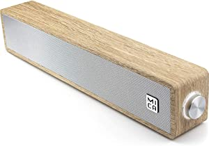 Wired Computer Sound Bar, USB-Powered PC Speakers; MICA M30 Wooden Wired LED Volume Control Mini Speakers for Multiple Devices (with 3.5mm AUX & PC Input) (Yellow)