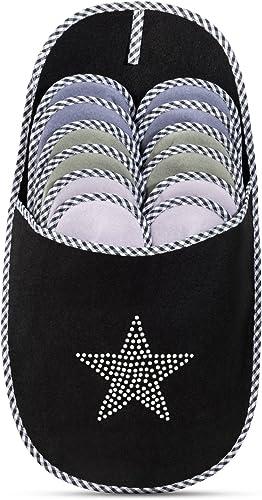 ABS Gästepantoffel 6er Set schwarz ANTI RUTSCH Hausschuhe Gästeschuhe Pantoffel