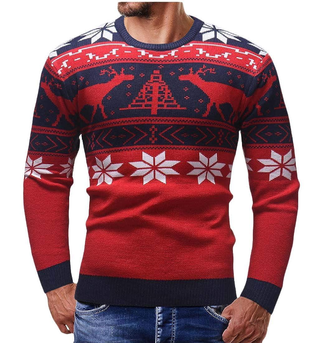 Comaba Men Xmas Long-Sleeve Deer Printing Slim-Fit Knit Crew-Neck Pullover