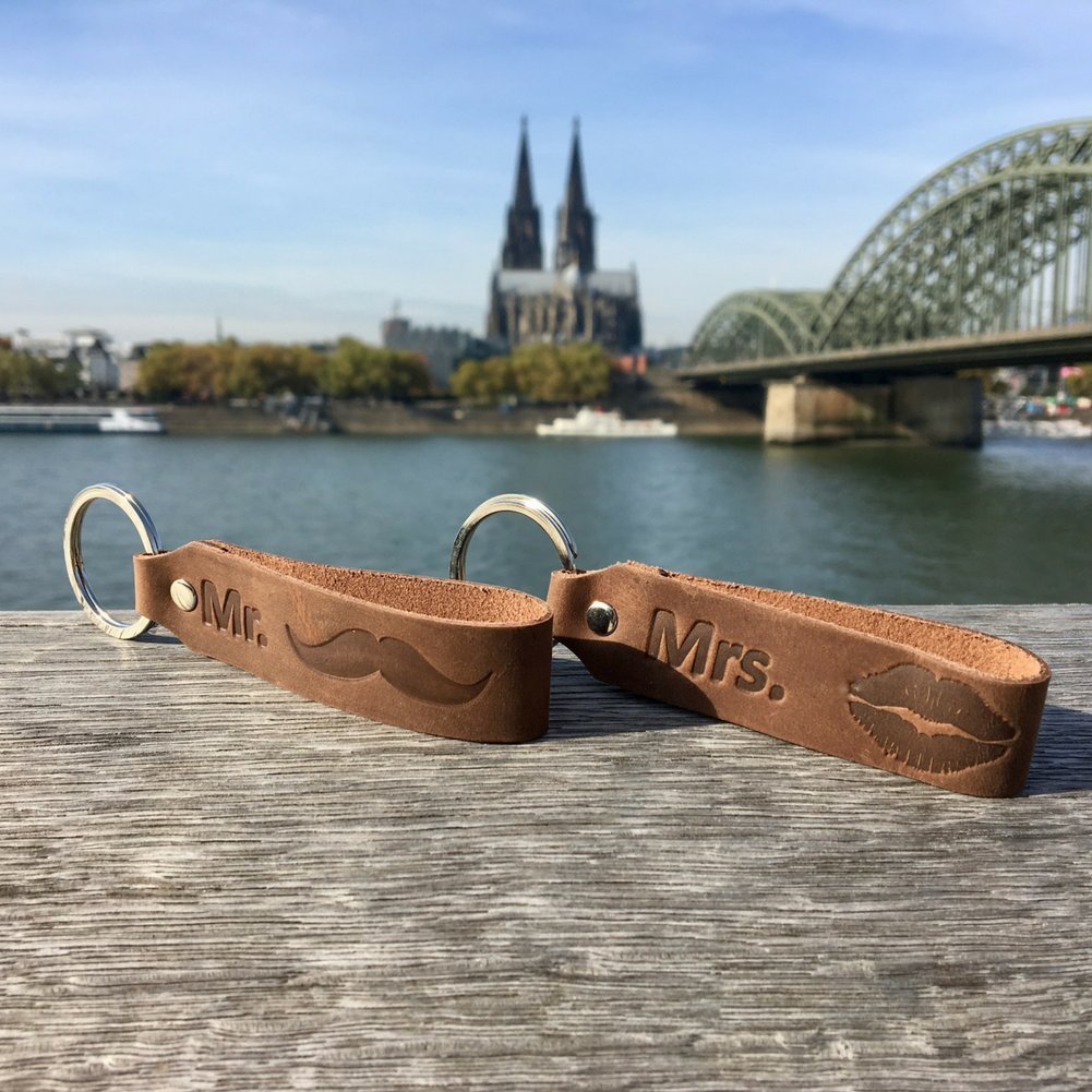 Leather Made in Germany Mrs ANKERPUNKT Keyring Keychain Mr