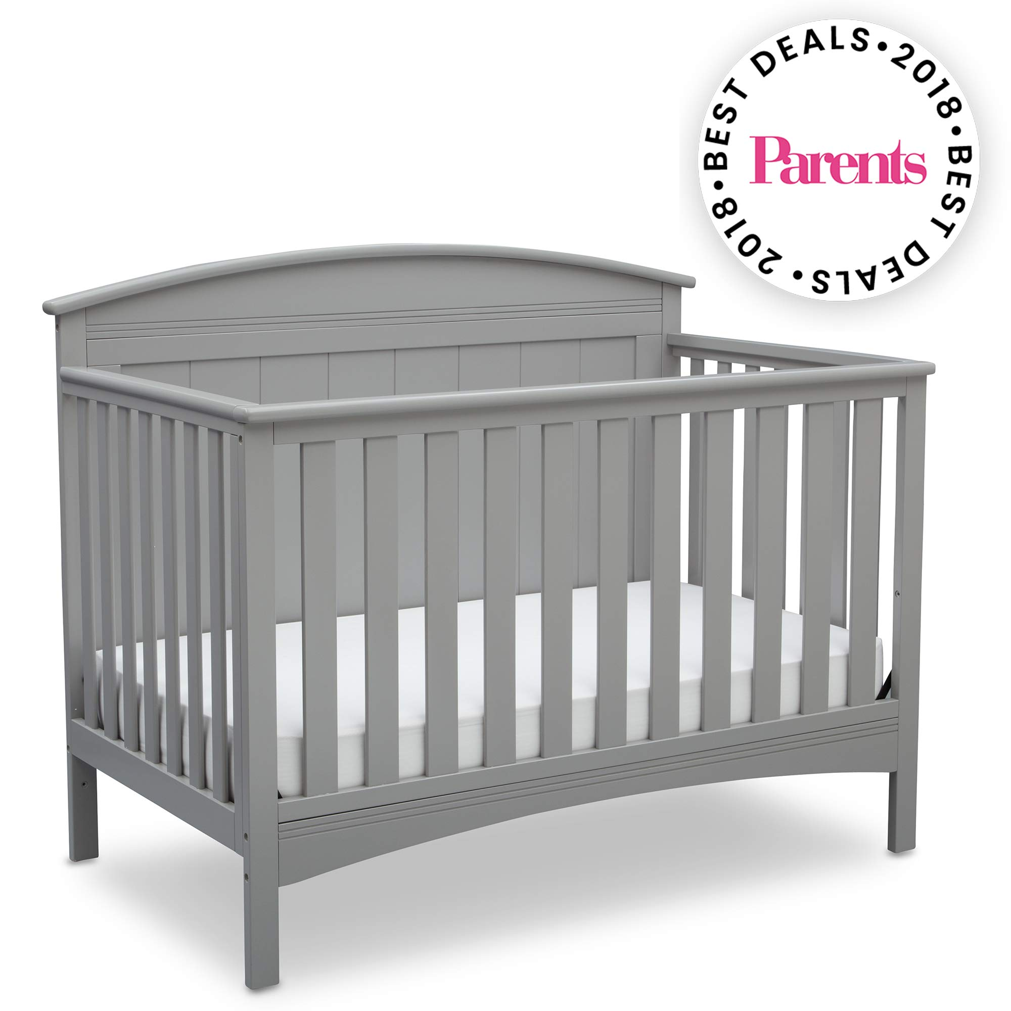 Delta Children Archer Solid Panel 4-in-1 Convertible Baby Crib, Grey by Delta Children