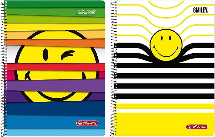Herlitz 50001767 – Cuaderno de espiral (A4, 80 hojas línea 28 (cuadriculado con 2 márgenes), diseños: Smileyworld surtidos – No a elegir. Smileyworld Diseños Variados: Amazon.es: Oficina y papelería