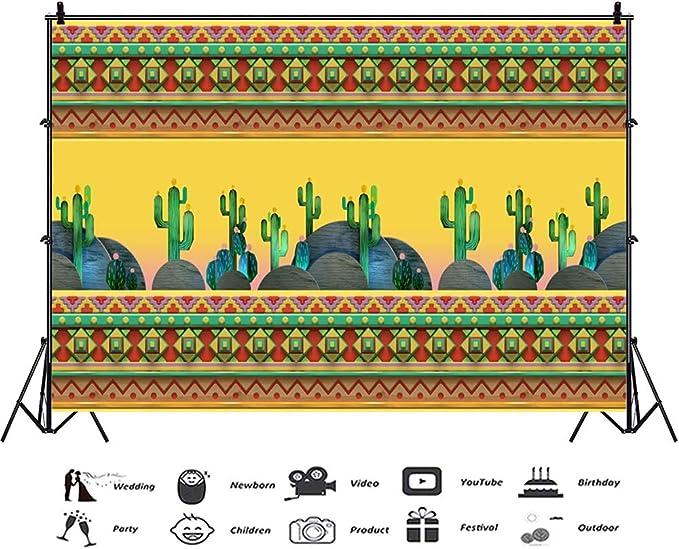 8x6.5ft Childish Art Design Green Cactus Rustic Wooden Board Yellow Vinyl Photography Background Desolate Desert Fiesta Backdrop Child Baby Portrait Shoot Kids Room Wallpaper Birthday Banner