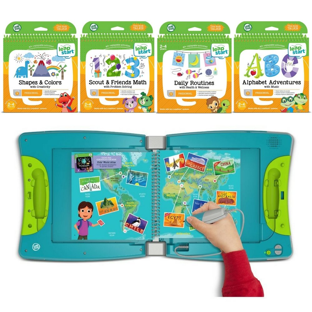 LeapFrog LeapStart Kindergarten & 1st Grade Interactive Learning System For Kids Ages 5-7 With Level 1 Preschool, Pre-Kindergarten Activity Books: Shapes, Math, Daily Routines & Alphabet Fun Bundle by LeapFrog (Image #1)