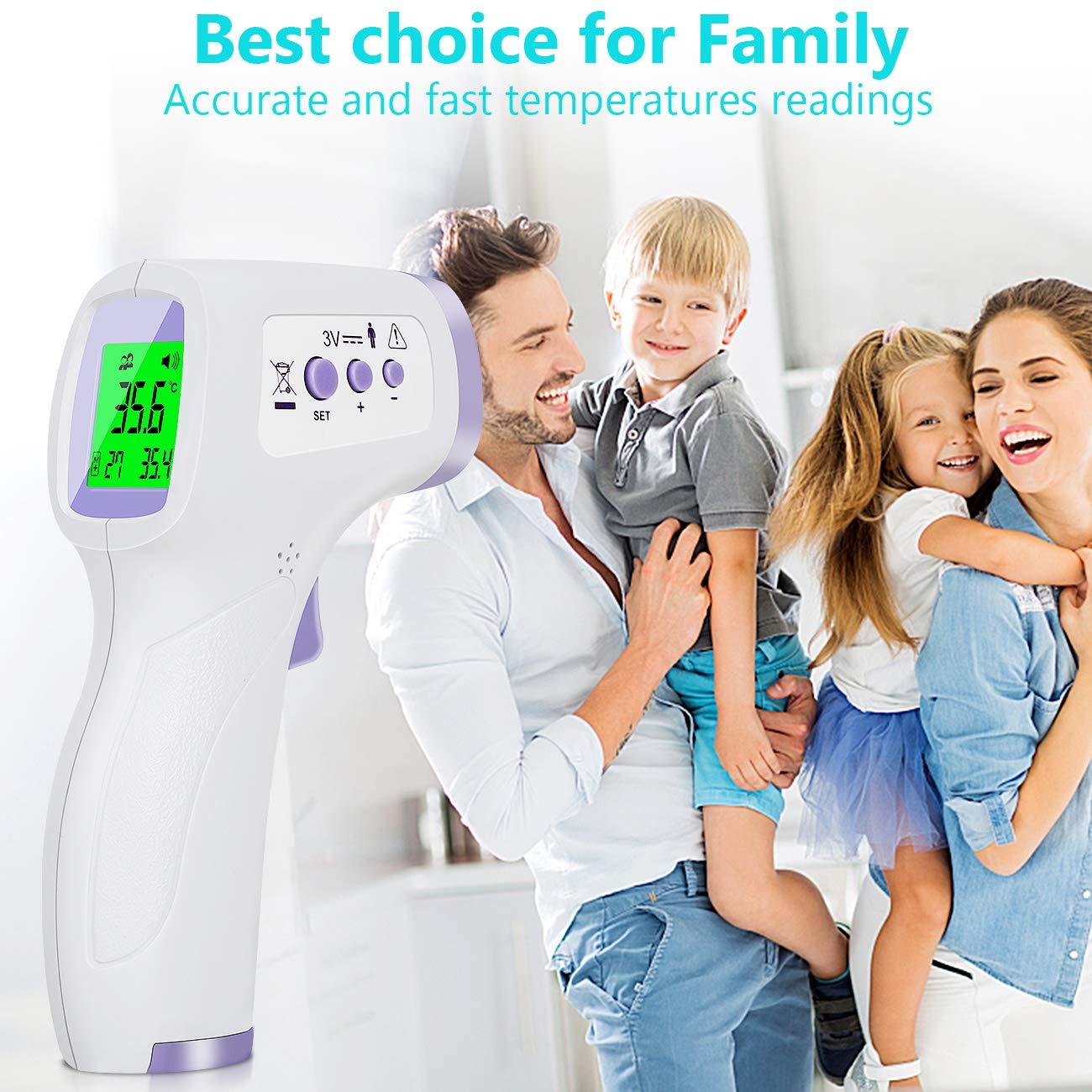 Ber/ührungsloses Infrarot-Stirnthermometer mit Fieberalarm und Ged/ächtnisfunktion-Ideal f/ür Babys,Kleinkinder,Kinder,Erwachsene,den Innen-und Au/ßenbereich