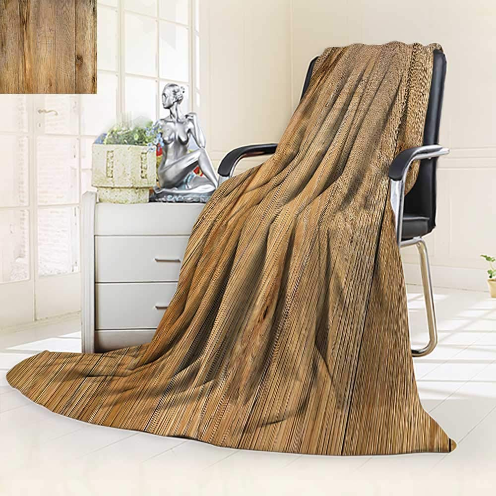 YOYI-HOME Fleece Duplex Printed Blanket 300 GSM Old Weathered Wood Surface with Long Boards Lined up Wooden Planks on a or Floor with Grain Soft Warm Fuzzy Bed Blanket/39.5'' W by 59'' H
