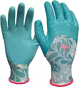 DIGZ 77382-26 Coating, Small Long Cuff Stretch Knit Garden Gloves with Full Finger Latex Coati