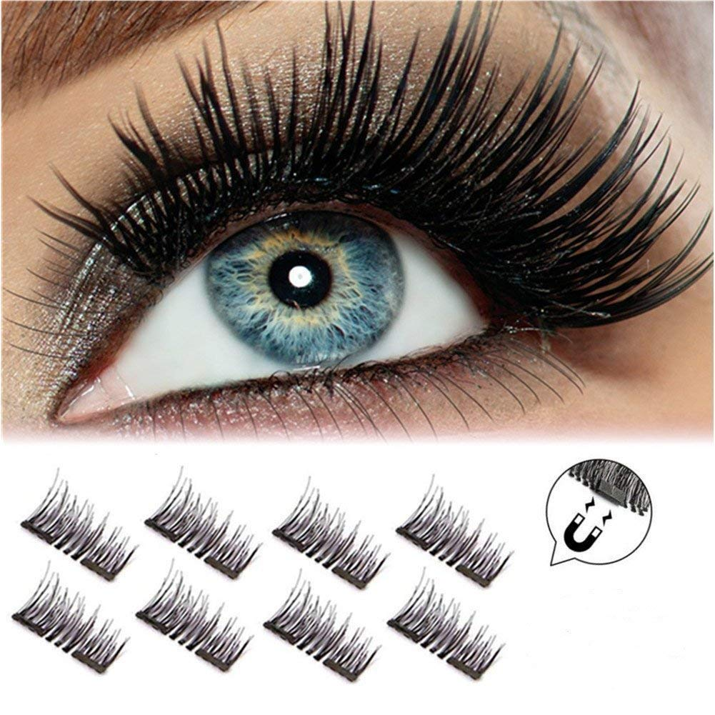 2018 Version Magnetic Eyelashes, Long Size and Half Size in One Set, 0.2mm Ultra Thin Magnetic False Eyelashes, 3D Reusable Fake Lashes, Natural Look (2 Pairs 8 Pieces) Youke