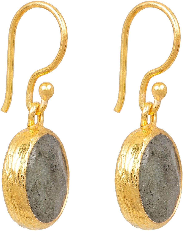 Pendientes de mujer Sarh Bosman de plata dorada con piedras preciosas grises engastadas, 14 mm de diámetro, SAB-E03GRALABG