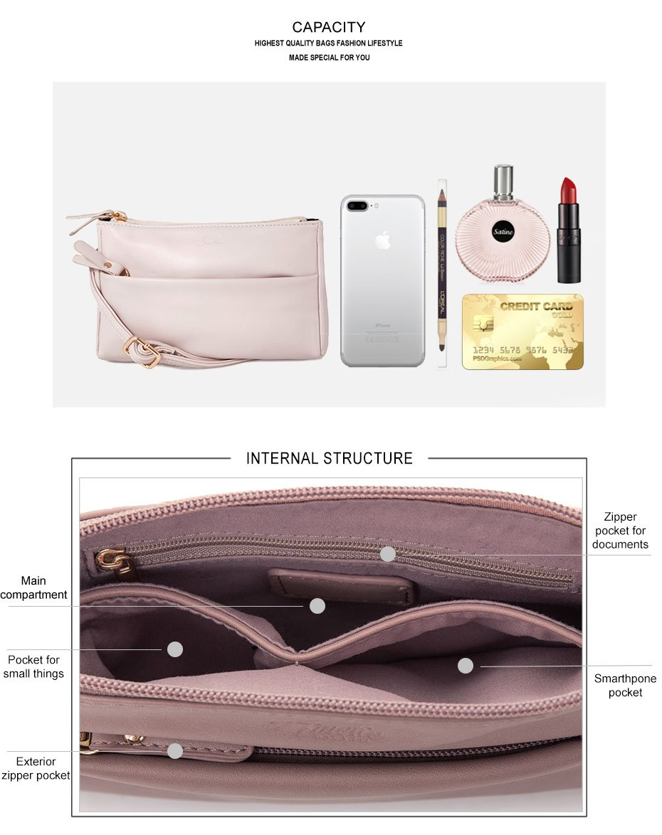 Double Zip Small Crossbody Bag Satchel for Women by AMELIE GALANTI (Image #8)