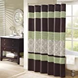 Madison Park Briggs Embroidered Shower Curtain Green 72x72