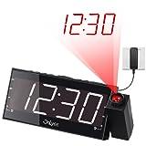 """OnLyee 7"""" Sveglia co proiettore led, FM Radio ,Dimmer,doppio caricatore usb ,Battery Backup"""