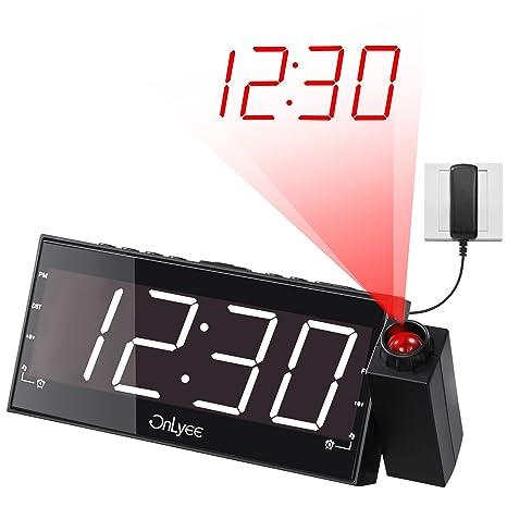 OnLyee Projection Clock, AM FM Radio Alarm Clock, Bedroom Desk Wall  Ceilling Clock,
