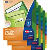 Avery 8-Tab Plastic Binder Dividers with Pockets, Insertable Multicolor Big Tabs, 3 Sets (11907)