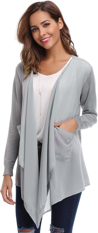 Abollria Womens Lightweight Long Sleeve Open Front Chiffon Cardigan with Pockets